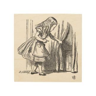 Vintage Alice in Wonderland looking for the door Wood Wall Decor