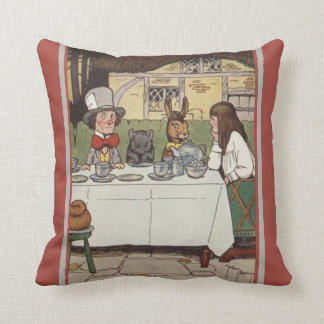 VINTAGE ALICE IN WONDERLAND, MAD HATTER, MOUSE THROW PILLOW