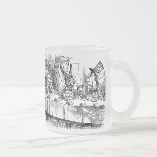 Vintage Alice in Wonderland Mad Hatter tea party Frosted Glass Coffee Mug