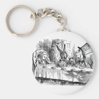 Vintage Alice in Wonderland Mad Hatter tea party Basic Round Button Keychain