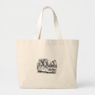 Vintage Alice in Wonderland Mad Hatter tea party Large Tote Bag