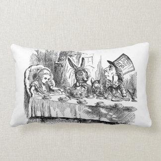 Vintage Alice in Wonderland Mad Hatter tea party Lumbar Pillow
