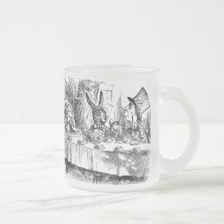Vintage Alice in Wonderland Mad Hatter tea party 10 Oz Frosted Glass Coffee Mug