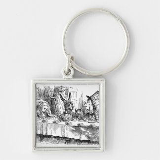 Vintage Alice in Wonderland Mad Hatter tea party Silver-Colored Square Keychain