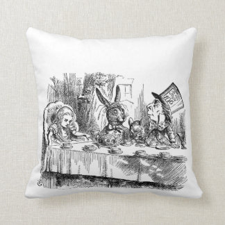 Vintage Alice in Wonderland Mad Hatter tea party Throw Pillow