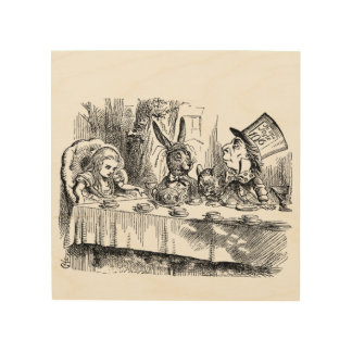 Vintage Alice in Wonderland Mad Hatter tea party Wood Wall Art