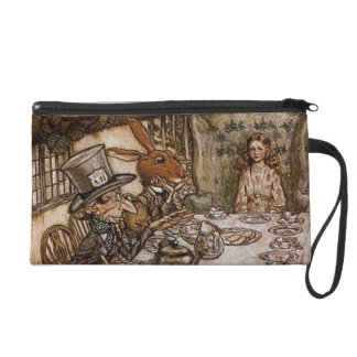 Vintage Alice in Wonderland Mad Hatter's Tea Party Wristlet Purse