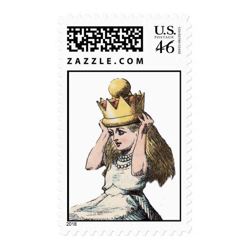 vintage alice in wonderland postage stamp
