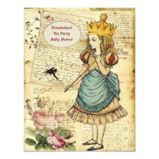 Vintage baby shower invitations tropical papers vintage alice in wonderland princess baby shower custom invitation filmwisefo