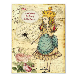 Vintage Alice in Wonderland Princess Bridal Shower Card