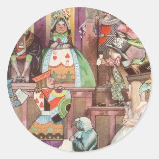 Vintage Alice in Wonderland, Queen of Hearts Classic Round Sticker