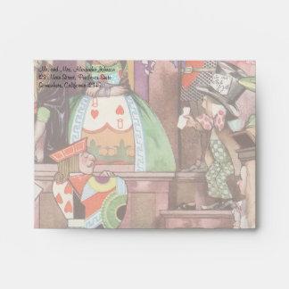 Vintage Alice in Wonderland, Queen of Hearts Envelopes