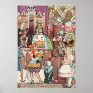 Vintage Alice in Wonderland, Queen of Hearts Poster