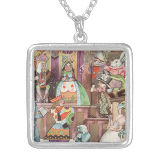 Vintage Alice in Wonderland, Queen of Hearts Silver Plated Necklace