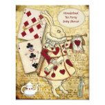 Vintage Alice in Wonderland Rabbit Baby Shower Card