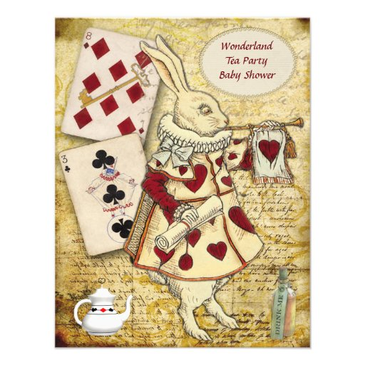 Vintage Alice in Wonderland Rabbit Baby Shower Personalized Announcement