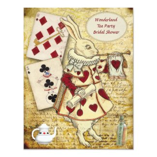 Vintage Alice in Wonderland Rabbit Bridal Shower 4.25x5.5 Paper Invitation Card
