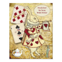 Vintage Alice in Wonderland Rabbit Bridal Shower Invitation