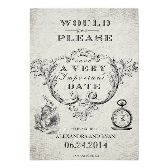 Alice in wonderland invitations announcements zazzle vintage alice in wonderland save the date card pronofoot35fo Gallery