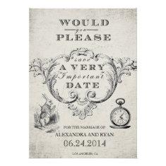 Vintage Alice in Wonderland Save the Date Custom Invites