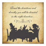 Vintage Alice in Wonderland Tea Party Birthday 5.25x5.25 Square Paper Invitation Card