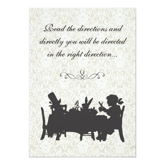 Vintage Alice in Wonderland Tea Party Birthday Invitation