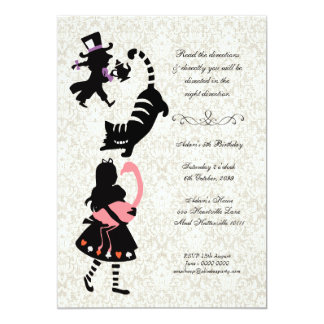 Vintage Alice in Wonderland Tea Party Birthday 5x7 Paper Invitation Card