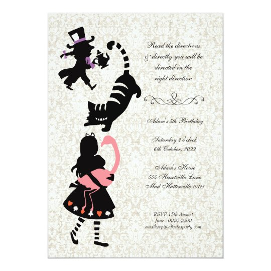 Vintage Alice In Wonderland Tea Party Birthday Invitation