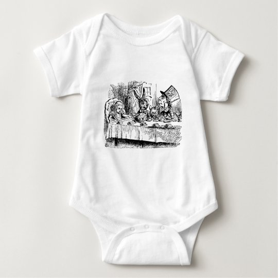 Vintage Alice in Wonderland, Tea Party Scene Baby Bodysuit