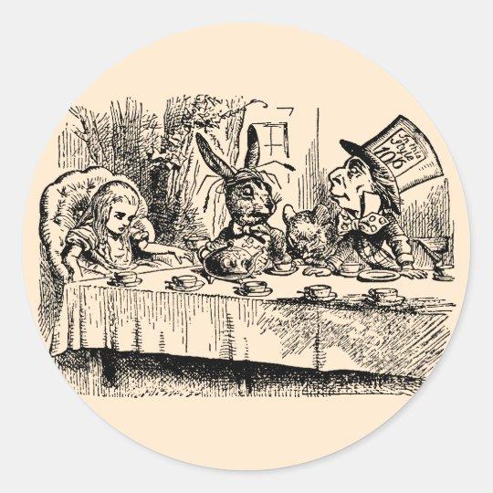 Vintage Alice in Wonderland, Tea Party Scene Classic Round Sticker