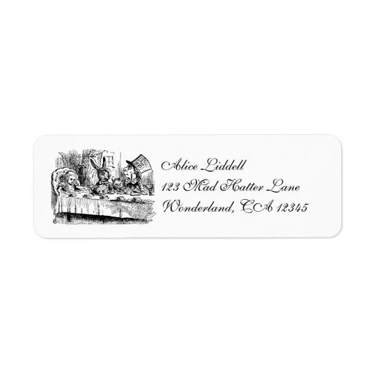 Vintage Alice in Wonderland, Tea Party Scene Label