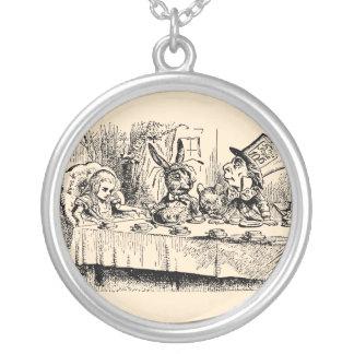 Vintage Alice in Wonderland, Tea Party Scene Round Pendant Necklace