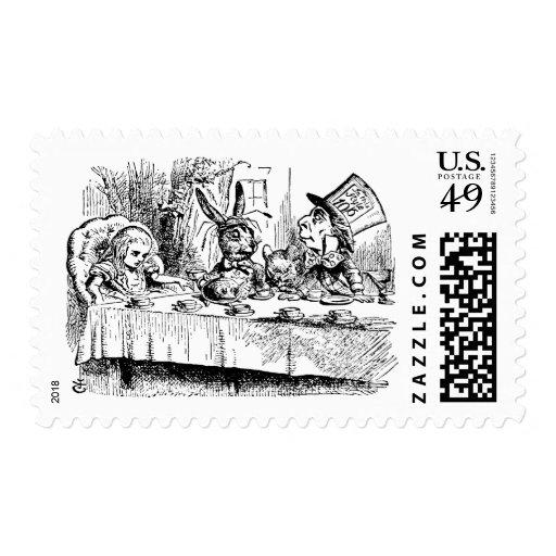 Vintage Alice in Wonderland, Tea Party Scene Stamps