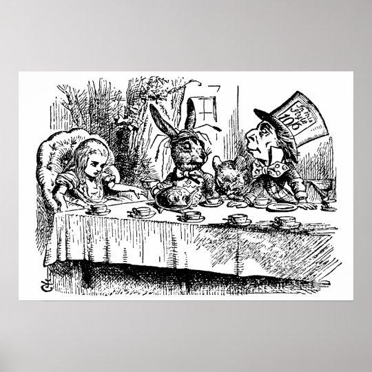 Vintage Alice in Wonderland, Tea Party Scene Poster