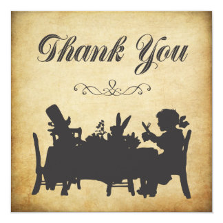 """Vintage Alice in Wonderland Tea Party Thank You 5.25"""" Square Invitation Card"""