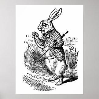 Vintage Alice in Wonderland the White Rabbit Watch Poster