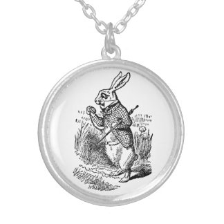 Vintage Alice in Wonderland the White Rabbit Watch Silver Plated Necklace