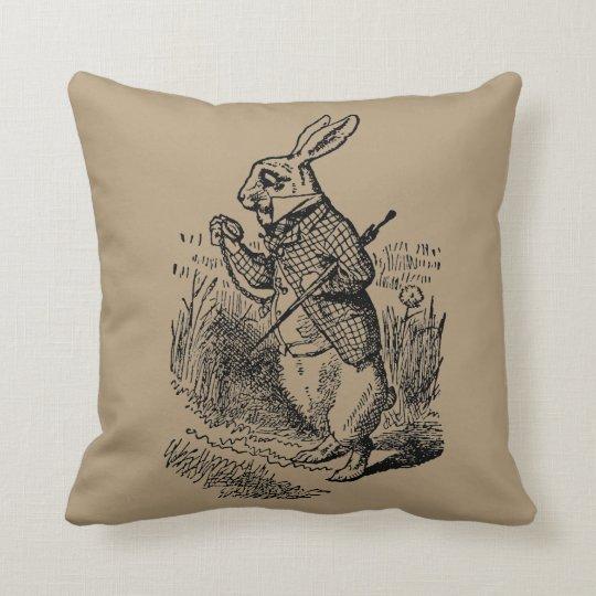 Vintage Alice in Wonderland the White Rabbit Watch Throw Pillow