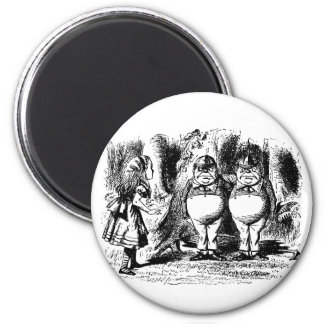 Vintage Alice in Wonderland, Tweedledum Tweedledee 2 Inch Round Magnet