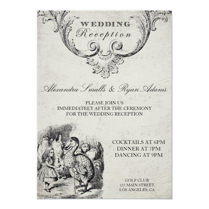 Vintage Alice In Wonderland Wedding Reception Card