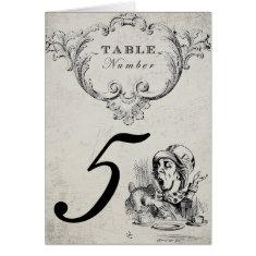 Vintage Alice in Wonderland Wedding Table Numbers Card
