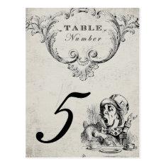 Vintage Alice in Wonderland Wedding Table Numbers Postcard at Zazzle