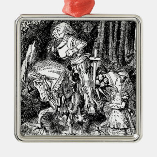 Vintage Alice in Wonderland White Knight on Horse Metal Ornament