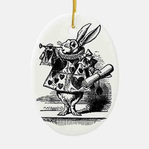 Vintage Alice in Wonderland White Rabbit as Herald Double-Sided Oval Ceramic Christmas Ornament