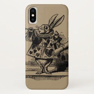 Vintage Alice in Wonderland White Rabbit as Herald iPhone X Case