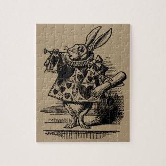 Vintage Alice in Wonderland White Rabbit as Herald Jigsaw Puzzle