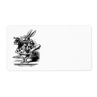 Vintage Alice in Wonderland White Rabbit as Herald Shipping Label