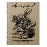 Vintage Alice in Wonderland White Rabbit as Herald Spiral Note Book