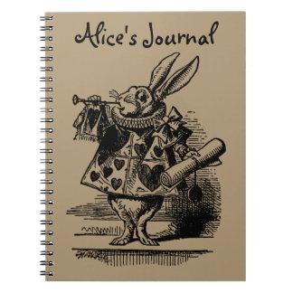 Vintage Alice in Wonderland White Rabbit as Herald Notebook