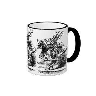 Vintage Alice in Wonderland White Rabbit as Herald Ringer Coffee Mug